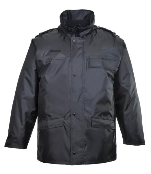 schwarze Security Jacke gefuettert Winter