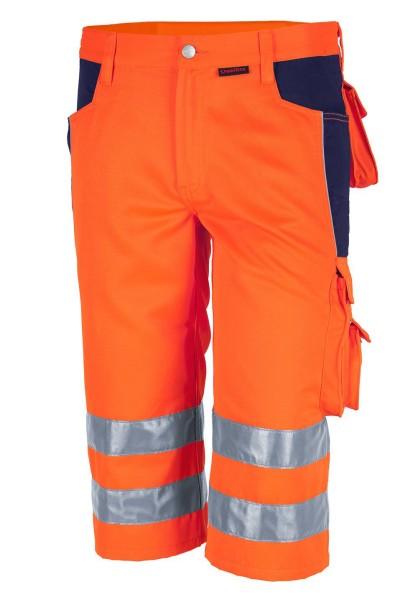 Qualitex Warnschutz Arbeitshose kurz orange -blau