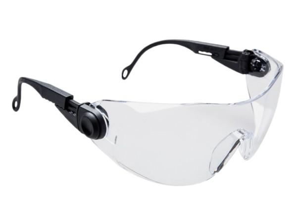 Schutzbrille verstellbar in Bügellänge und Bügelneigung