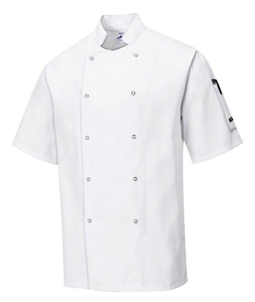 günstige Kochjacke kurzarm in weiß mit Druckknöpfen