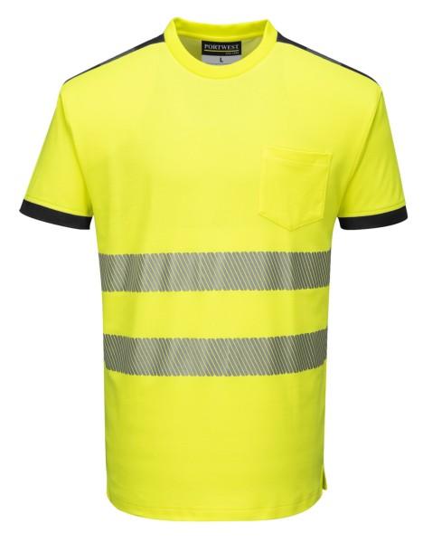 Warnschutz Baumwolle T-Shirt gelb schwarz Streifen floureszierend
