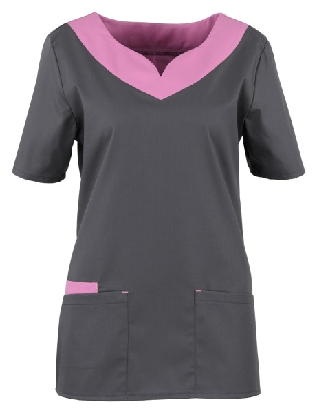Damen Stretch Kittel rosa grau