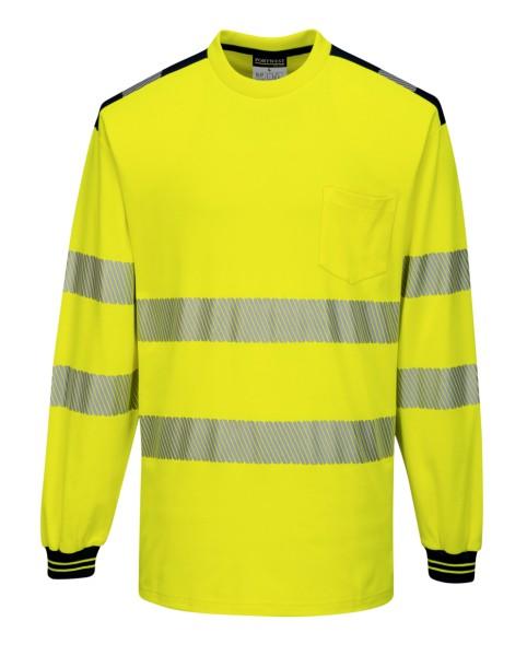 langarm Warnschutz T-Shirt gelb schwarz S bis Übergröße 5XL